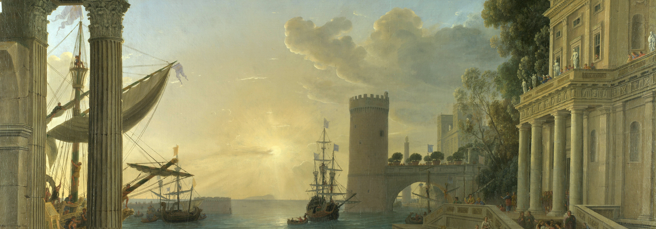 """Seaport with the Embarkation of the Queen of Sheba"", by Claude Lorrain,"